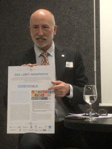 David Pollard showing the SDG LGBTI Manifesto