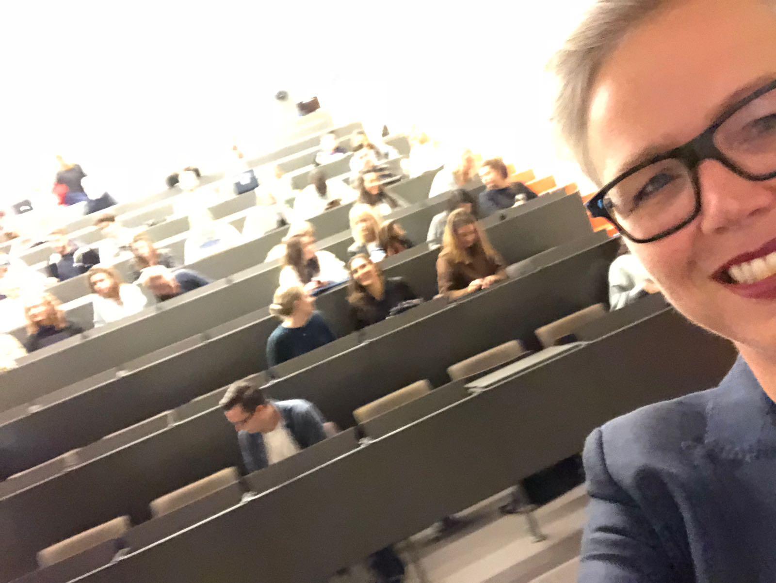 Selfie in college zaal