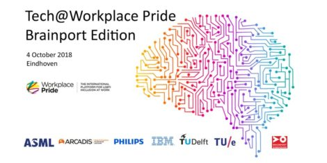 tech at workplace pride invite, showing a rainbow coloured brain and logos from the participating organisations