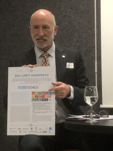David Pollard showing the SDG LGBTI Manifesto